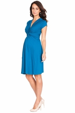 Seraphine Jolene Knot Front Maternity And Nursing Dress - Short Sleeve - Solid