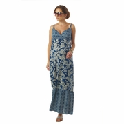 TEMPORARILY OUT OF STOCK Seraphine Matilda Bohemian Printed Maternity And Nursing Maxi Dress - Blue