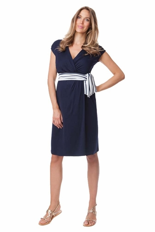 Seraphine Taylor Nautical Tie Wrap Maternity Dress