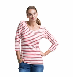 SOLD OUT  Boob Simone Striped Maternity Nursing Top 3/4 Sleeve