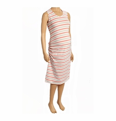 SOLD OUT Due Maternity Pregnancy And Beyond Tank Dress - Coral/Taupe/White Stripe