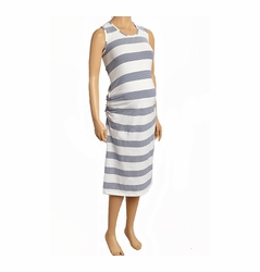 SOLD OUT Due Maternity Pregnancy And Beyond Tank Dress - White/Navy Gradient Stripe