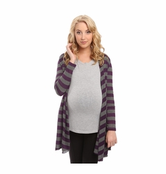 SOLD OUT Everly Grey Sherman Cardigan Sweater - Plum Stripe
