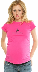 """SOLD OUT  """"Knocked Up""""-Pink Maternity T-Shirt by 2 Chix"""