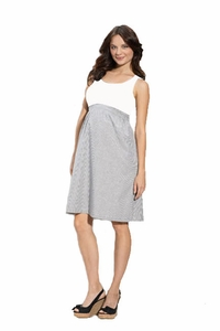 SOLD OUT Maternal America Empire Cotton and Seersucker Maternity Dress