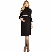 Maternal America Lantern Sleeve Turtleneck Maternity Dress