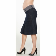 SOLD OUT Maternal America Pleated Denim Maternity Skirt