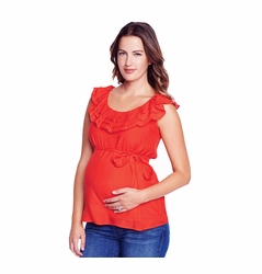 SOLD OUT Maternal America Ruffle Layer Gauze Maternity Top