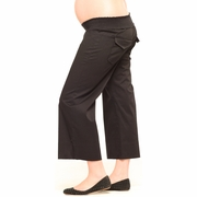 SOLD OUT Maternite Elastic Shierred Black Cropped Maternity Pants - FINAL SALE