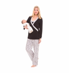SOLD OUT Olian Anne 4 Piece Mom And Baby Maternity And Nursing Pajama Set - Black/White