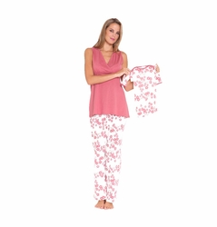 SOLD OUT Olian Anne 5 Piece Mom And Baby Maternity Nursing Pajama Gift Set - Cherry Blossom