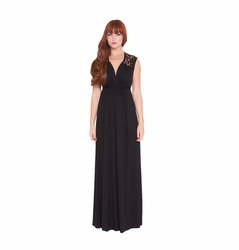 SOLD OUT Olian Vero Crochet Lace Trim Maternity Maxi Dress