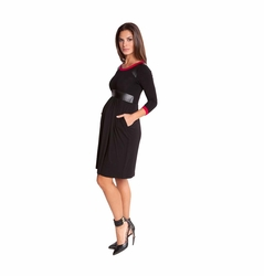 SOLD OUT Olian Victoria Pleather Trim Maternity Dress