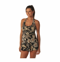 SOLD OUT Prego Babydoll Halter Tankini Swimsuit - Black/Brown Floral