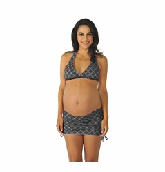 SOLD OUT Prego Ruched Maternity Halter Bikini - Black Mini Dot