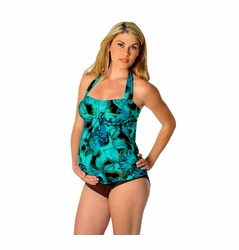 SOLD OUT Prego Sweetheart Halter Maternity Tankini - Aqua/Brown