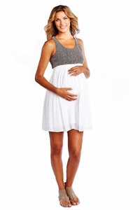 SOLD OUT Racer Back Net And Gauze Maternity Dress by Maternal America
