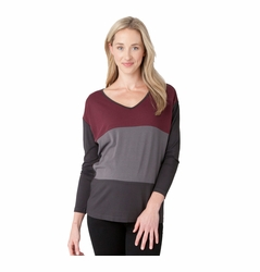 Ripe Maternity Color Block V Neck Batwing Top