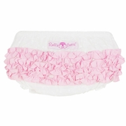 SOLD OUT RuffleButts Swiss Dot With Pink Woven Bloomer - Diaper Cover