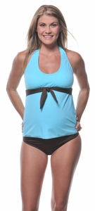 SOLD OUT Solid Tie Halter Maternity Swimsuit by Prego