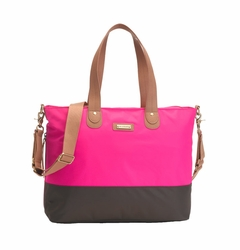 SOLD OUT Storksak Color Block Tote Diaper Bag - Neon Pink/Brown
