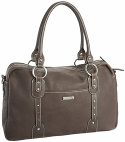 TEMPORARILY OUT OF STOCK Storksak Elizabeth Leather Diaper Bag - Dove Grey