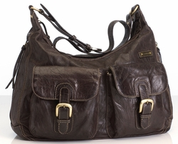 SOLD OUT Storksak Emily Leather Diaper Bag - Chocolate