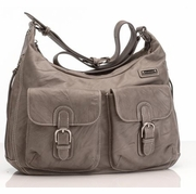 SOLD OUT Storksak Emily Leather Diaper Bag - Taupe