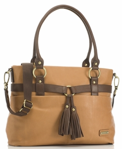 SOLD OUT Storksak Isabella Leather Diaper Bag - Caramel