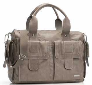 TEMPORARILY OUT OF STOCK Storksak Sofia Leather Diaper Bag - Taupe