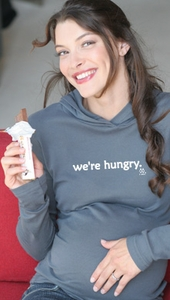 "SOLD OUT  ""We're Hungry"" Maternity Hoodie by 2 Chix"