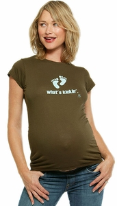 "SOLD OUT ""What's Kickin'""-Blue Feet Maternity T-Shirt by 2 Chix"
