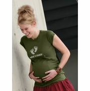 "SOLD OUT ""What's Kickin'""-Green Maternity T-Shirt by 2 Chix"