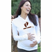 "SOLD OUT  ""What's Kickin'"" Maternity Hoodie by 2 Chix"