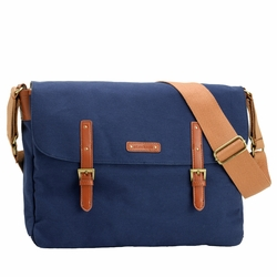 TEMPORARILY OUT OF STOCK Storksak Ashley Canvas Messenger Diaper Bag - Blue