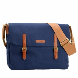 TEMPORAILY OUT OF STOCK Storksak Ashley Canvas Messenger Diaper Bag - Blue