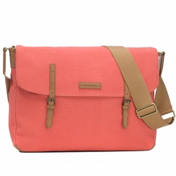 TEMPORARILY OUT OF STOCK Storksak Ashley Canvas Messenger Diaper Bag - Coral