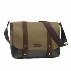 Storksak Aubrey Canvas Messenger Laptop Diaper Bag - Khaki/Chocolate
