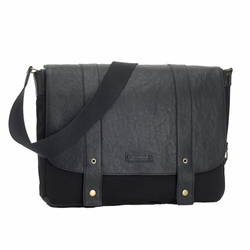 Storksak Aubrey Leather Messenger Laptop Diaper Bag - Black