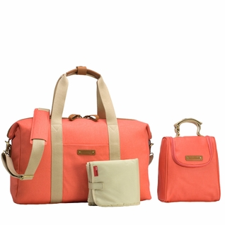 TEMPORARILY OUT OF STOCK Storksak Bailey Weekender Diaper Bag Set - Coral