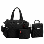 TEMPORARILY SOLD OUT Storksak Bobby Quilted Diaper Bag And Tote Set - Black