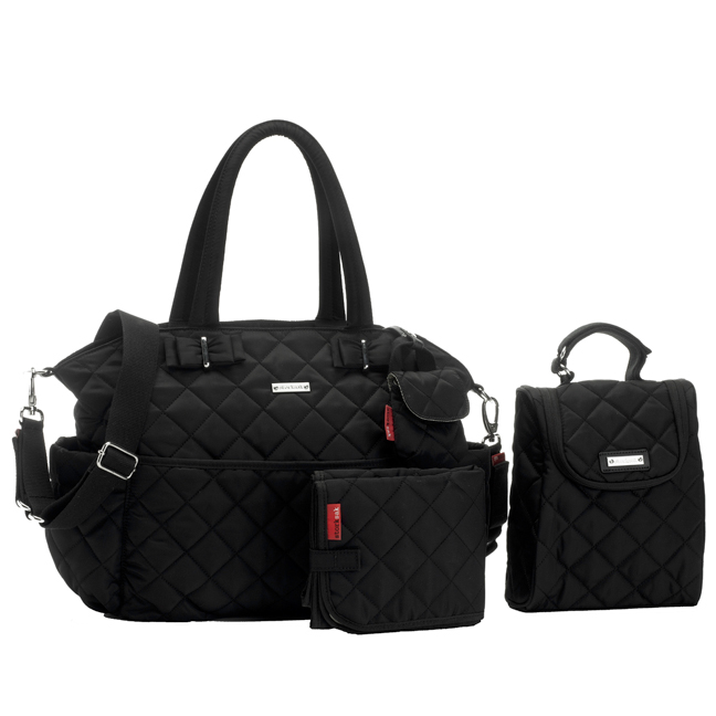 Storksak Bobby Quilted Diaper Bag And Tote Set - Black | Maternity