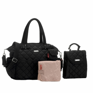 TEMPORARILY OUT OF STOCK Storksak Bobby Quilted Diaper Bag And Tote Set - Black