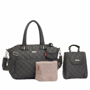 Storksak Bobby Quilted Diaper Bag And Tote Set - Charcoal Grey