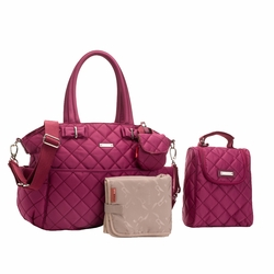 Storksak Bobby Quilted Diaper Bag And Tote Set - Magenta