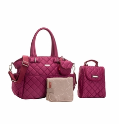 TEMPORARILY OUT OF STOCK Storksak Bobby Quilted Diaper Bag And Tote Set - Magenta