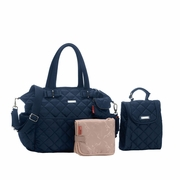 TEMPORARILY OUT OF STOCK Storksak Bobby Quilted Diaper Bag And Tote Set - Navy