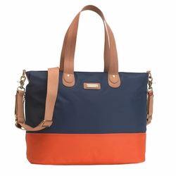 TEMPORARILY OUT OF STOCK Storksak Color Block Tote Diaper Bag - Navy And Orange