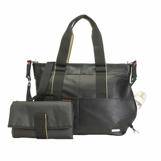 TEMPORARILY OUT OF STOCK Storksak Eden Vegan Leather Diaper Bag - Black