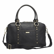 TEMPORARILY OUT OF STOCK Storksak Elizabeth Leather Diaper Bag - Black